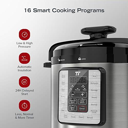 TaoTronics TT-EE007 Electric Pressure Cookbook 8QT, 10-in-1 Multi-Use, 16 Programs, FDA and ETL Approved, Slow, Rice Cooker, Steamer, Sauté Pot, Yogurt Maker, Food Warmer, Sterilizer