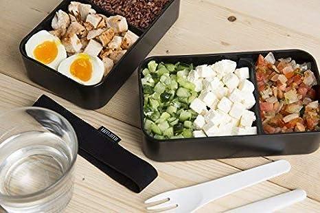 Umami Bento Original - Lunch Box con 2 Compartimentos Cierre hermético con Cubiertos - Durable, plástico sin BPA - Convient en los Adultos y en los niños ...
