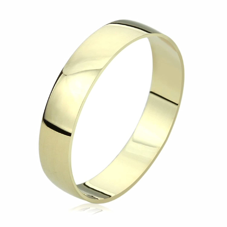 14K Yellow Gold Wedding Band 4mm Domed Classy Plain Ring