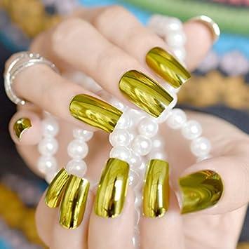 Buy Generic olive green 24pcs Gold Metallic Nail Art Tips