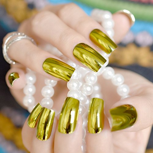 Buy Generic olive green 24pcs Gold Metallic Nail Art Tips