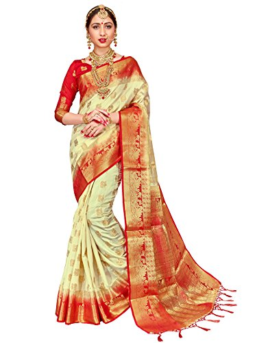 ELINA FASHION Sarees for Women Banarasi Art Silk Woven Work Saree l Indian Wedding Traditional Wear Sari & Blouse Piece (Cream) (White Silk Saree)