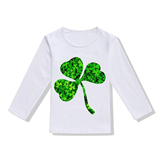 7e6a36b37 DealinM Toddler Kids St Patrick's Day T Shirt Child Shamrock Letter Printed  Long Sleeve Crew Neck Tshirt