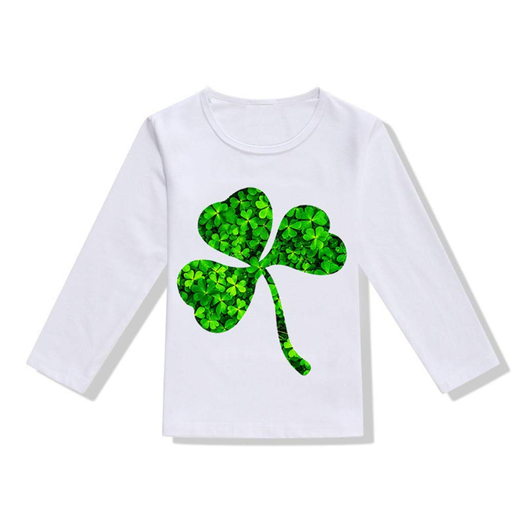 DealinM Toddler Kids St Patrick's Day T Shirt Child Shamrock Letter Printed Long Sleeve Crew Neck Tshirt Green by DealinM (Image #1)