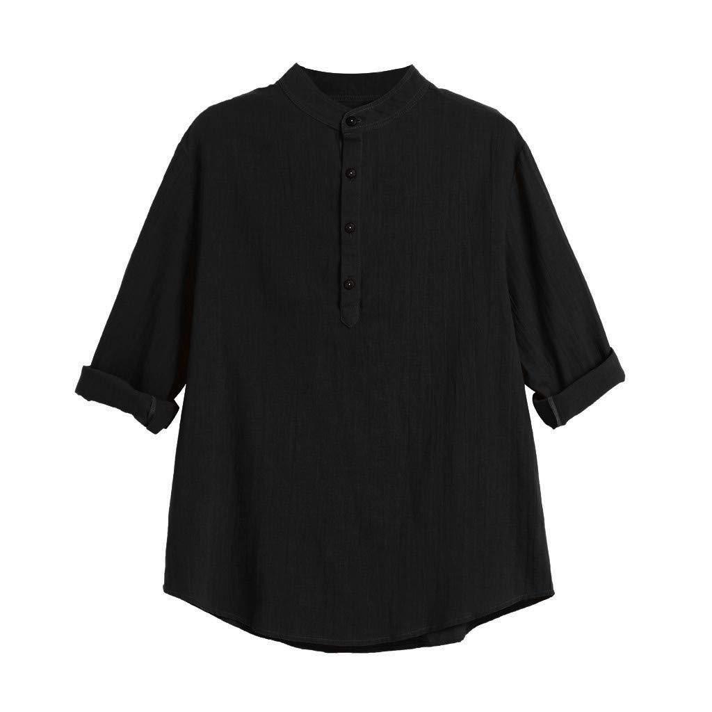 YOcheerful Mens Shirt Men Long Sleeve Henley Shirt Solid Tee Top Leisure Beach Top Blouse Loose Fit Cafe Bar Shirt
