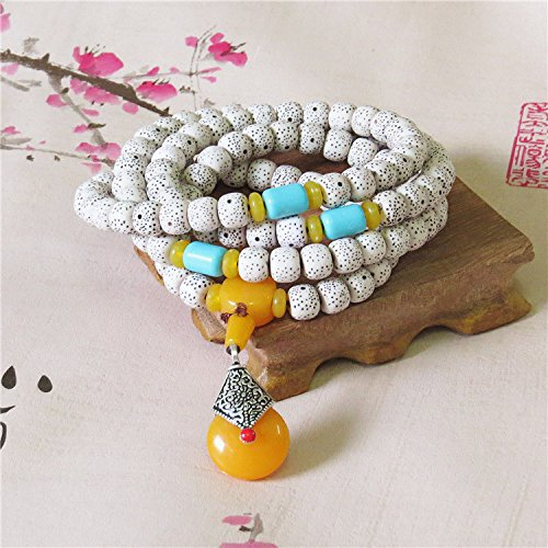 Ice moon and stars the same paragraph sweater chain Bodhi bracelets bracelets beeswax beads necklace jewelry national wind - Beeswax Beads Necklace