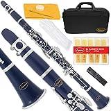 Lazarro 150-DB-L B-Flat Bb Clarinet Dark Blue-Silver Keys with Case, 11 Reeds, Care Kit and Many Extras