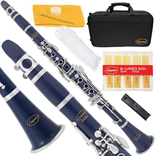 Lazarro 150-DB-A B-Flat Bb Clarinet Dark Blue-Silver Keys with Case, 11 Reeds, Care Kit and Many Extras