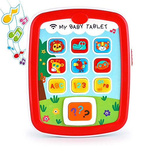 Toddler Learning Tablet for 1 Year Old, VATOS Baby Ipad for 6M -12M -18M+ with Music & Light, Travel Toy Tablet with Easy ABC Toy, Numbers & Color | My First Learning Tablet (Best Tablet For 1 Year Old)
