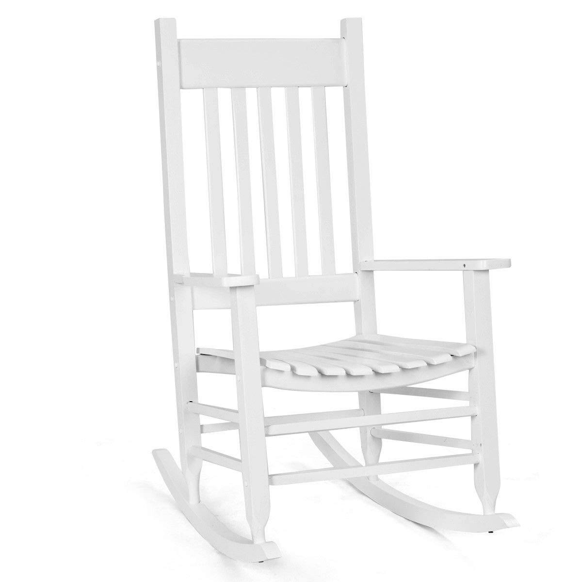 Giantex Outdoor Wood Rocking Chair Porch Rocker 100% Natural Solid Wooden Indoor Deck Patio Backyard Living Room Rocking Chairs(White)