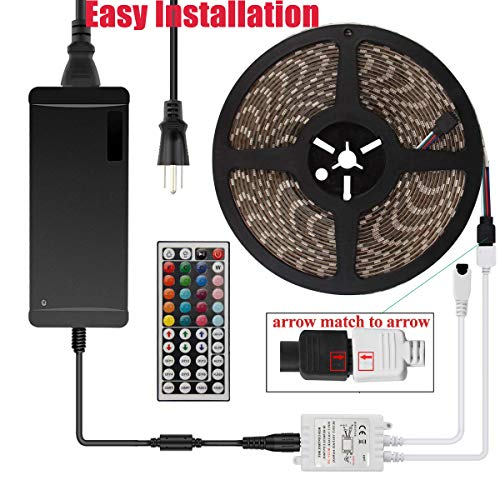 YIPBOWPT Led Strip Light Waterproof 32.8ft RGB SMD 5050 600leds Led Rope Light Color Changing Full Kit with 44 Keys IR Remote Control+24V Power Supply Led Lighting for Kitchen Indoor by YIPBOWPT (Image #6)