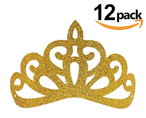 Diy Crown Royal Costume (Frozen Party Crowns, 12pcs Glitter Princess Birthday Hats for Party Decoration)