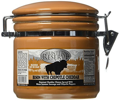 Hunters Reserve 10.5 oz. Gourmet Cheddar Cheese Spread with Bison Summer Sausage Morsels & Chipotle Peppers by Hunters -