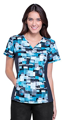 Geometric Print Top (Cherokee Women's V-Neck Flex Side Panel Geometric Print Scrub Top X-Large Print)