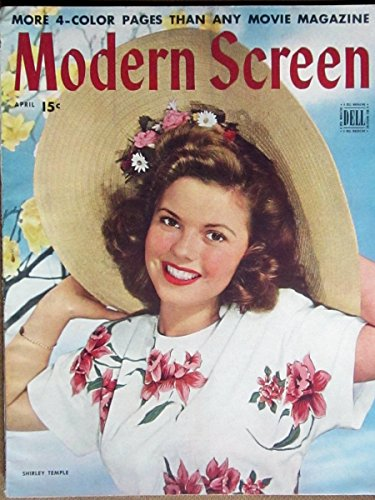 MODERN SCREEN Magazine, APRIL 1945, with SHIRLEY TEMPLE on the cover. Scarce. Inside we have portraits/articles on JUNE ALLYSON, ALICE FAYE, GREGORY PECK, LAUREN BACALL, JOHN PAYNE. Two page article on Hitchock's SPELLBOUND