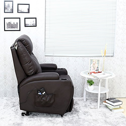 More4Homes CINEMO ELECTRIC RISE RECLINER MASSAGE HEAT ARMCHAIR SOFA LOUNGE BONDED LEATHER CHAIR (Brown)