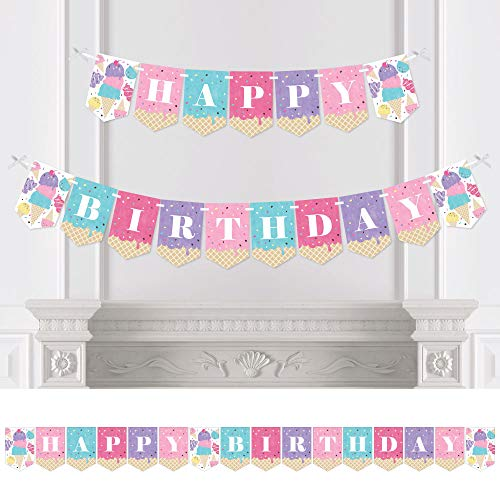Big Dot of Happiness Scoop Up the Fun - Ice Cream - Sprinkles Birthday Party Bunting Banner - Birthday Party Decorations - Happy Birthday