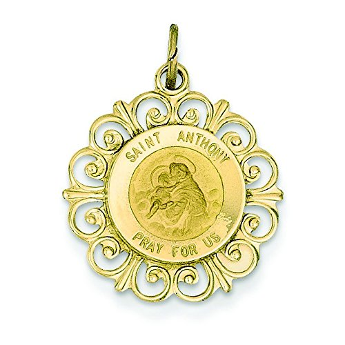 14 Carats Pendentif St Antoine Médaille-Dimensions :  19,4 x 23,1-JewelryWeb mm