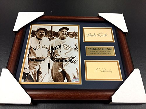Lou Gehrig Memorabilia - BABE RUTH LOU GEHRIG Autographed Cut Signature REPRINT Framed 8x10 Photo YANKEES