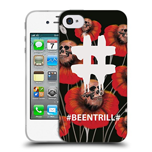 Official Been Trill Poppy Flower Floral And Skulls Soft Gel Case for Apple iPhone 4 / 4S