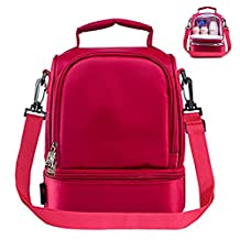 Insulated Lunch Bag Double Decker Collapsible Adult Cooler Lunch Box Tote for Women Girls Kids with Shoulder Strap 8L