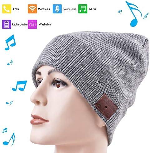 Music Hat Beanie with Bluetooth Function Smart Hat Built-in Stereo Speaker Mic Wireless Headphones Beanie Sync Call Music for All Smart Phones Gift Men Women Boys Girls Boyfriend Gray