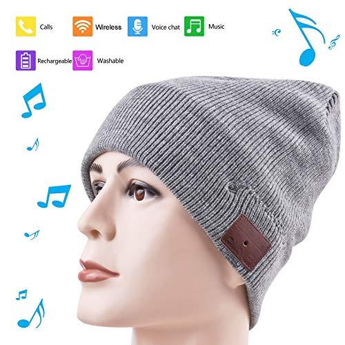 BGJOY Wireless Hat Music Beanie Smart Hat Built-in Stereo Speaker Mic Wireless Headphones Beanie Sync Call Music for All Smart Phones Gift Men Women Boys Girls