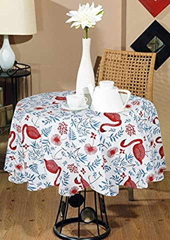 Indian Printed Modern Table Cover Round Wedding-100% Cotton Animal Print Round Tablecloth Large Red Blue -55""