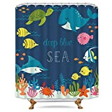 Cdcurtain Cartoon Underwater Sea Animal Shower Curtain Metal Hooks 12-Pack Deep Ocean Starfish Sea Turtle Blue Kids Decor Fabric Panel Set 72x72 Inch Bathroom