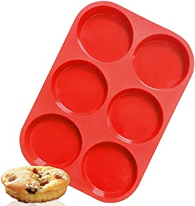 Walfos Premium Silicone Muffin Top Pan, Non-Stick Muffin Top Baking Pan, Prefect for Baking Cake, Corn Bread, Muffin Top and More, Food Grade and BPA Free (1-PK Silicone Muffin Top Pan)