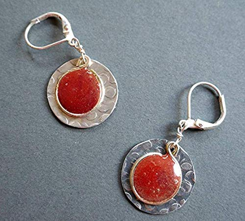 Handmade Lightweight Large 2 Tone Red Resin Silvertone Womens Leverback Earrings Beads by Bettina