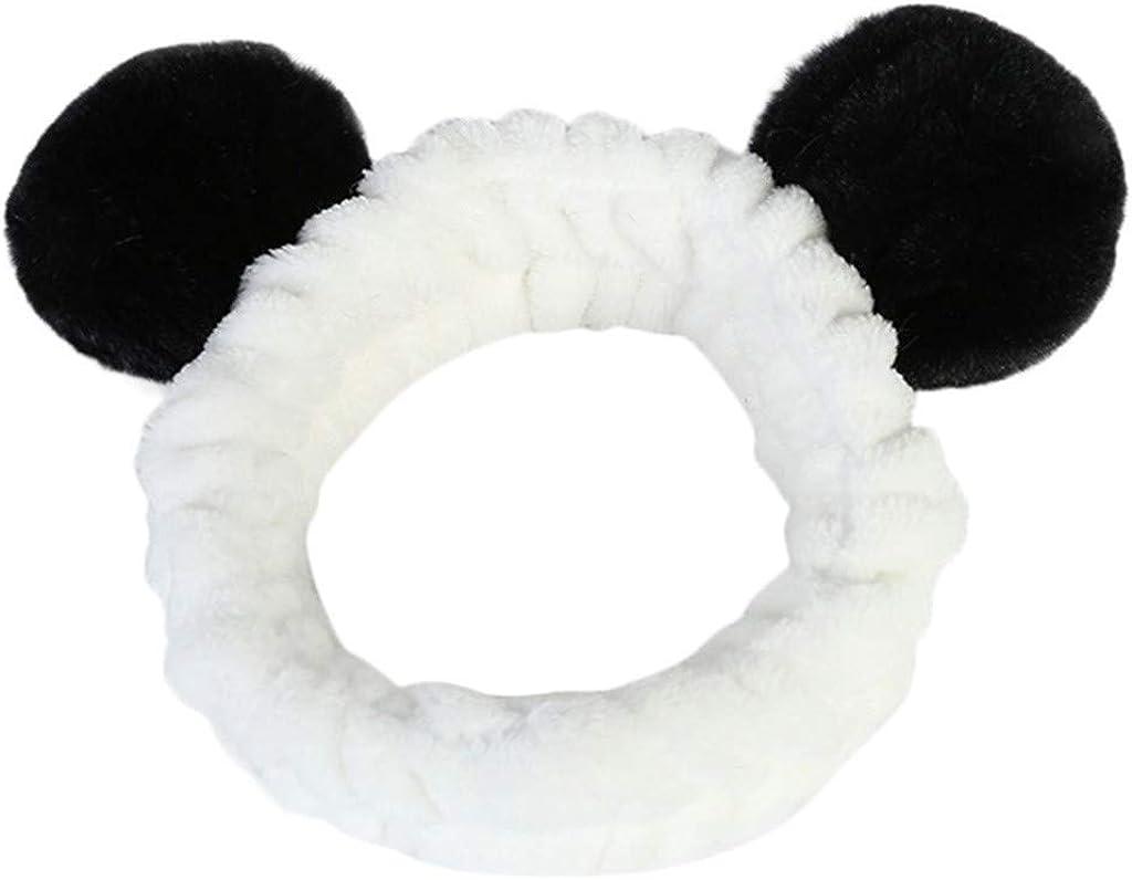 NEEKEY Panda Ear Headbands,Washing Face Shower Headbands Fluffy Elastic Makeup Hairbands,Beauty lovely Spa Makeup Wrap