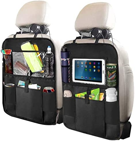 5 Storage Pockets Car Seat Back Protectors for Kids Toy Bottle Drink Vehicles Travel Accessories Pack of 2 Henzxi Car Backseat Organizer with Clear 10 Tablet Holder
