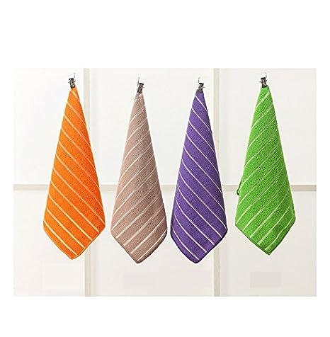 Toalla de microfibra, lavar, 4 piezas - Toallas de mano para gimnasio 30 * 30 cm (morado verde marrón naranja) para niños: Amazon.es: Hogar