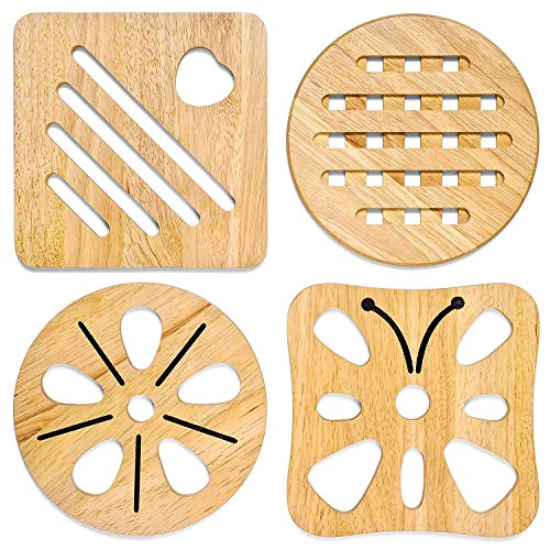 KIHR GOODS Natural Wood Trivets for Hot Pots and Pans Set - Pot Pads Wooden Protector for Kitchen Table and Counter - 2 Square or 2 Round Holders - 7