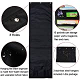 Litken 10 Pockets Black Cascading Wall Hanging File Organizer Folders Document Holder Storage Pocket Chart for Home School Office with 3 Hangers