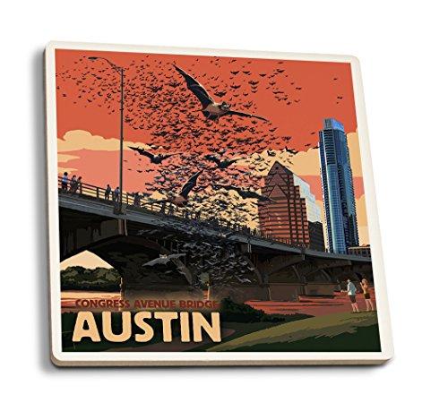 Austin, Texas - Bats and Congress Avenue Bridge (Set of 4 Ceramic Coasters - Cork-Backed, Absorbent)