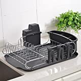 Wtape Modern Steel Rust Proof Kitchen Draining Dish Drying Rack, Dish Rack With Black Drainboard, 3 Separate Cup Holder Attachments, A Wide Utensil Holder and Knife Holder Attachment