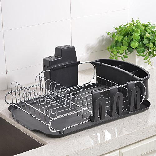 Wtape Modern Steel Rust Proof Kitchen Draining Dish Drying Rack, Dish Rack With Black Drainboard, 3 Separate Cup Holder Attachments, A Wide Utensil Holder and Knife Holder Attachment by Wtape home
