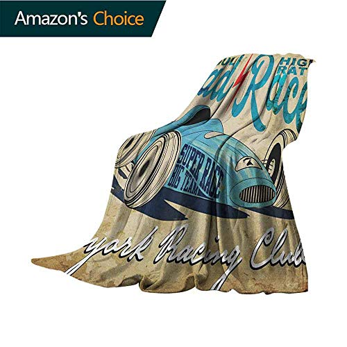 (Cars Weighted Blanket,New York Racing Club Race Car from Twenties Road Race Team Old School Cool Design Cozy and Durable Fabric-Machine Washable,30