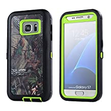 MOONCASE Galaxy S7 Edge Case, [Realtree Camo Series] 3 Layers Heavy Duty Defender Hybrid Soft TPU +PC Bumper Triple Shockproof Drop Resistance Protective Case Cover for Samsung Galaxy S7 Edge -Green Tree