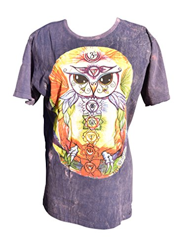 Nickanny's Acid Wash Yoga Purple Blue Owl Screenprint T Shirt With Om Namah Shivaya Designs (X Large, Purple) - Purple Acid Wash