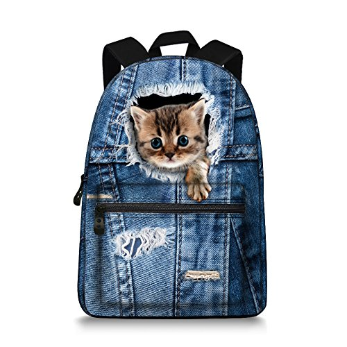 (15.5 inch Cute Denim Cat Backpack Canvas Casual Laptop School Backpack)