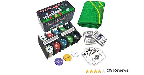 LEYENDAS CROWN Set de póker Caja de Metal, 200 fichas de póker, 2 Cubiertas, botón de repartidor, ciega pequeña, Gran ciega, tapete de Juego (B): Amazon.es: Juguetes y juegos