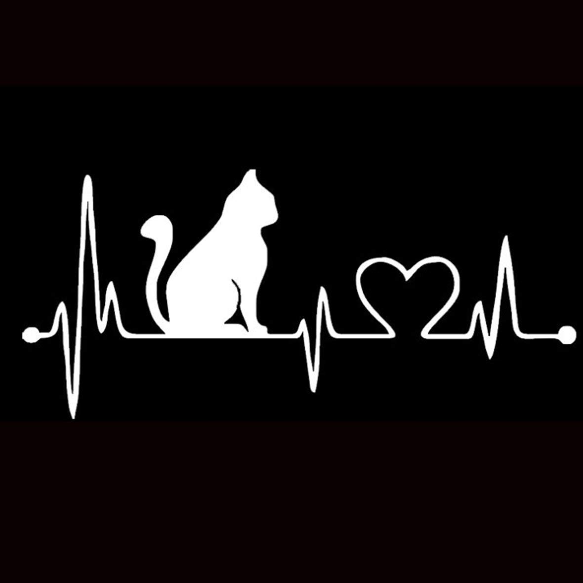 Tivolii Car Sticker Pet Cat Heartbeat Lifeline PET Decal Unique Car Body Stickers Car Styling Truck Accessories