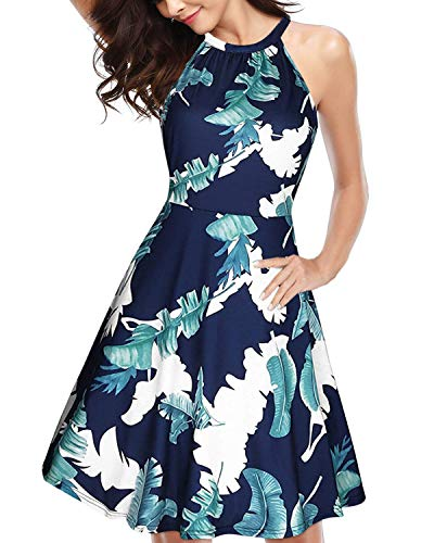 ULTRANICE Women's Halter Neck Floral Summer Casual Sundress(Floral01,XL) (Floral Halter Sundress)