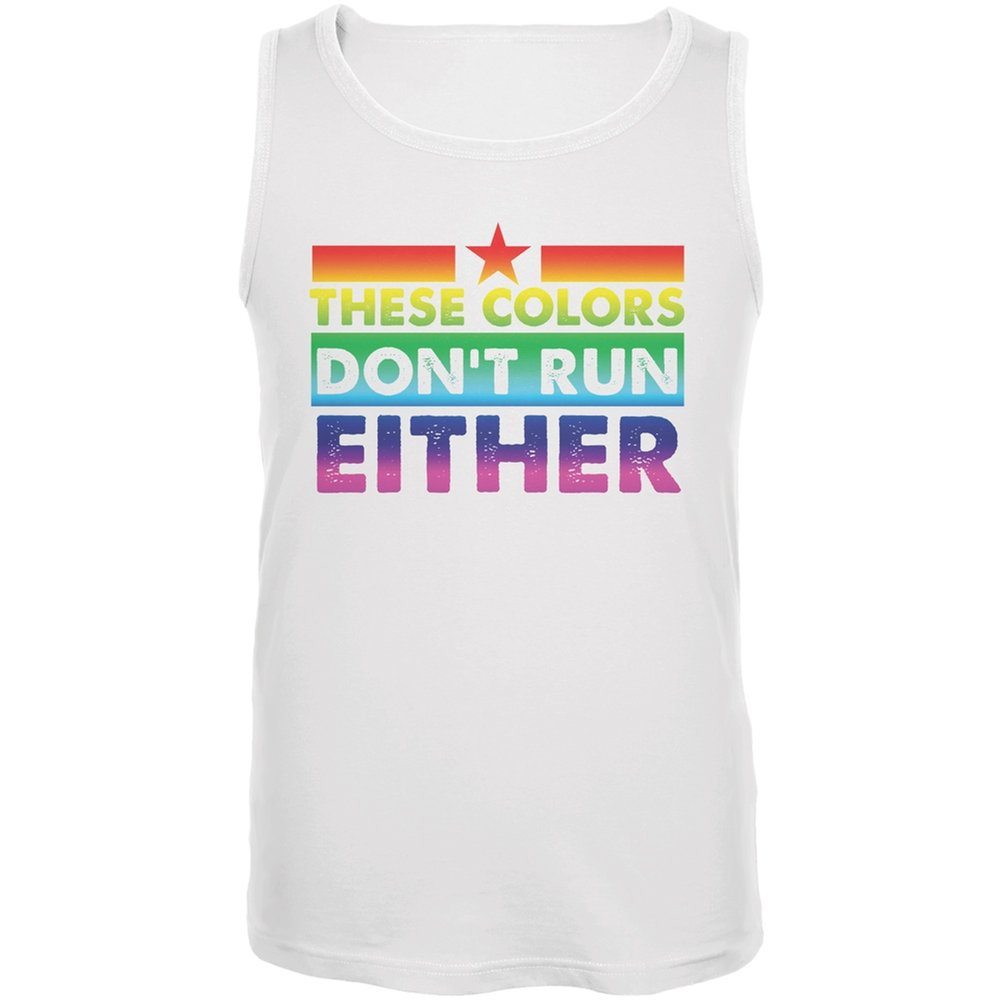 Old Glory Gay Pride LGBT These Colors Dont Run Either White Adult Tank Top