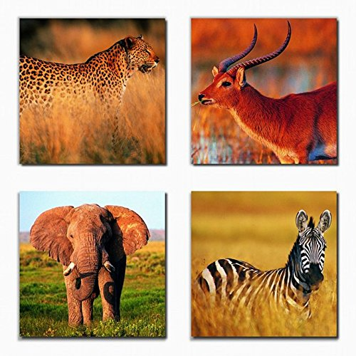 Wall Art Canvas Prints - Wild Animals Prints on Canvas - Framed and Ready to Hang - Elephant Gazelle Zebra and Cheetah Picture Designs - 4 Panels Modern Giclee Art - Gazelle Of A Picture A