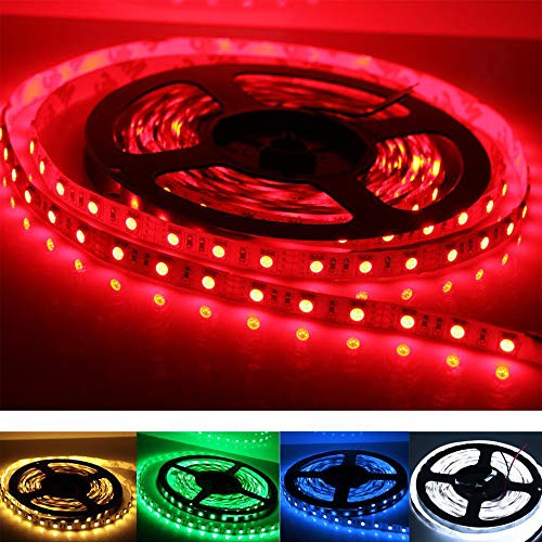 Zlolia Led Strip Lights,16.4ft 5050 RGB 300 Leds Rope Lights, IP60 Non Waterproof Color Changing,LED Lights Strips Kit 12V Power Supply