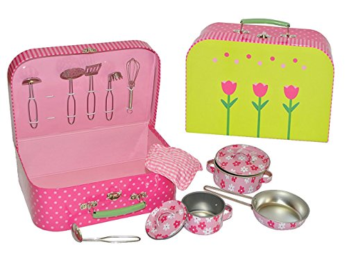 13 tlg. Kochset - Koffer mit Metall Geschirr - Spiel Set - Küche Zubehör Koffer - Töpfe Kochtopf für Kinder - Puppengeschirr - Kindertöpfe Kochtöpfe - rosa für Mädchen / Kochgeschirr
